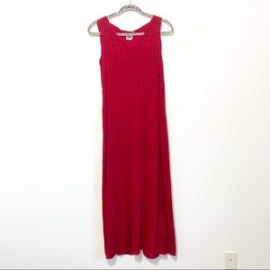 Johnny Was Vintage Red Embroidered Maxi Dress S